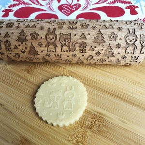 Scandinavian Style Rabbit and Fox Rolling Pin